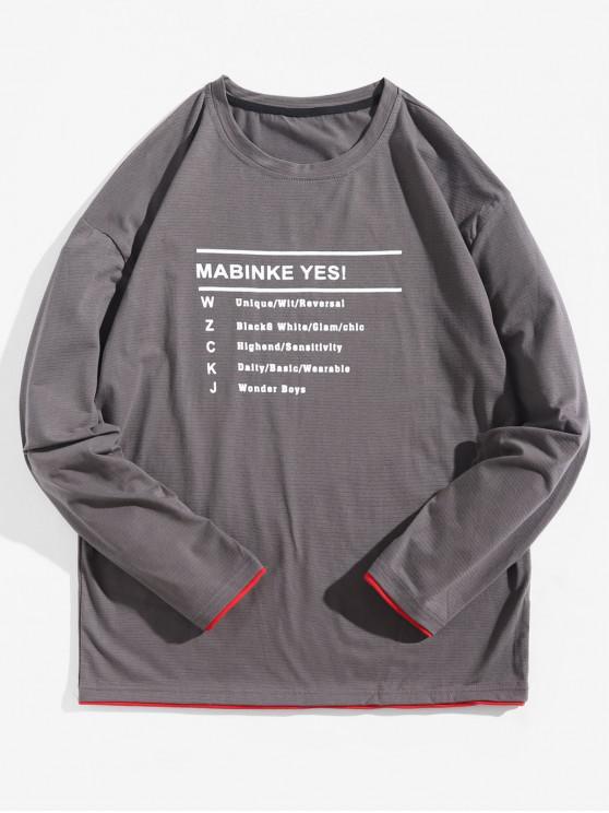 women Letter Graphic Contrast Trim Long Sleeve T-shirt - BATTLESHIP GRAY S