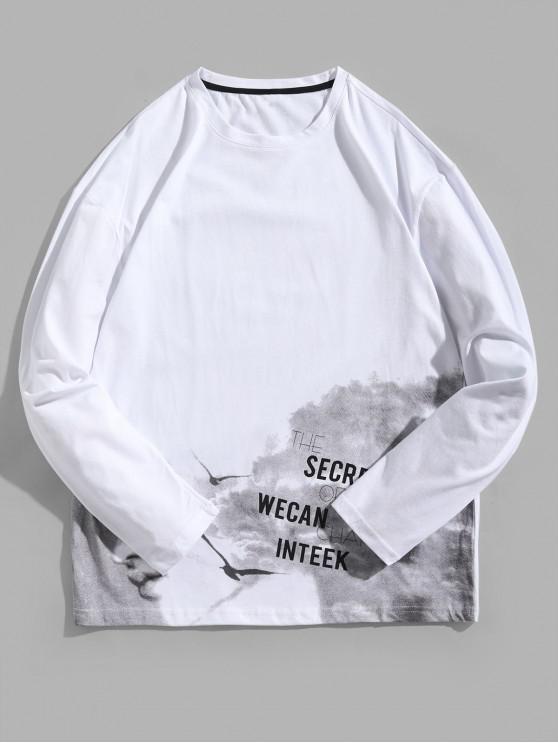 Letter Graphic Tie Dye Print camiseta de manga larga - Blanco L
