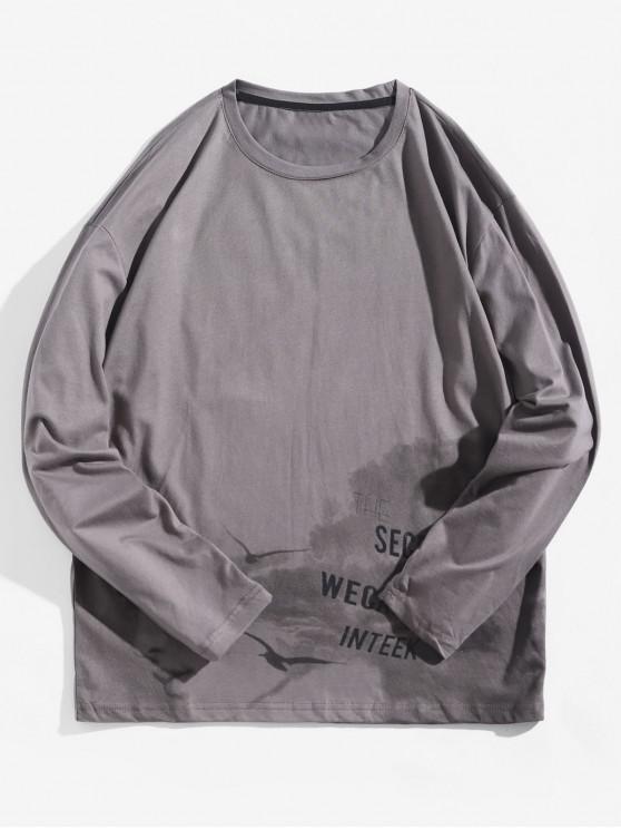 latest Letter Graphic Tie Dye Print Long Sleeve T-shirt - BATTLESHIP GRAY XS