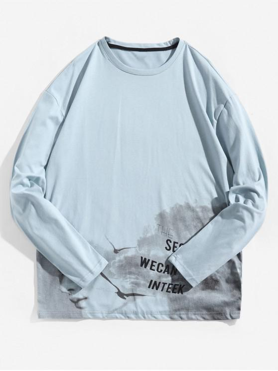 T-shirt Lettre Graphique Teinté Imprimée à Manches Longues - Bleu Bébé S