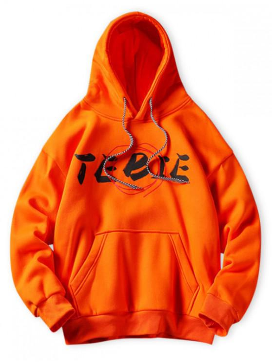 new Letter Print Kangaroo Pocket Hoodie - HALLOWEEN ORANGE L