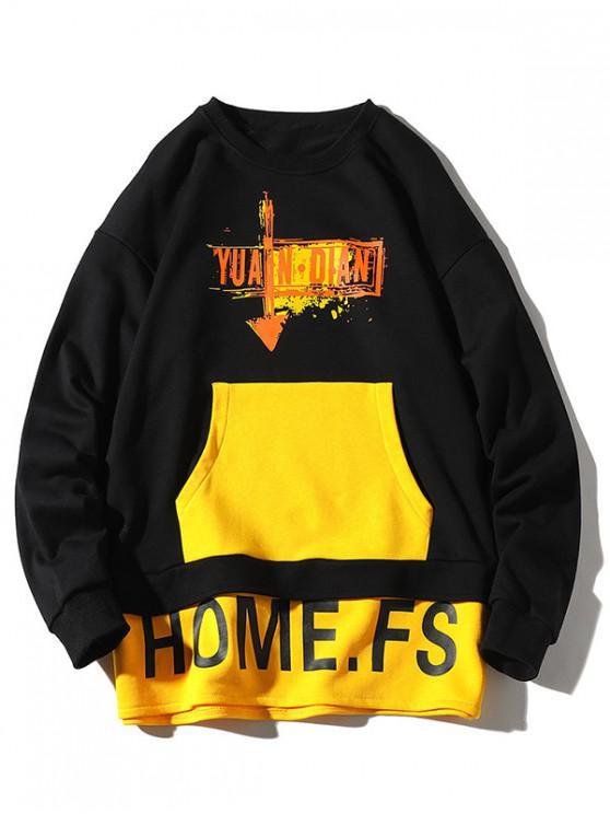 shop Letter Paint Color Blocking Faux Twinset Sweatshirt - BLACK 2XL