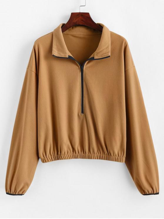 ZAFUL Sweat-shirt Demi-Zip à Goutte Epaule à Ourlet Elastique - Verge d'Or Foncé  L