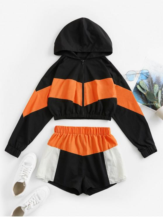 fashion ZAFUL Colorblock Hooded Drop Shoulder Shorts Set - MULTI-C M