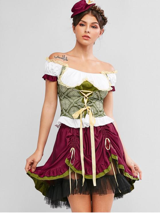 lady Lace-up Cinched Tiered Oktoberfest Skirt Set - MULTI-A S