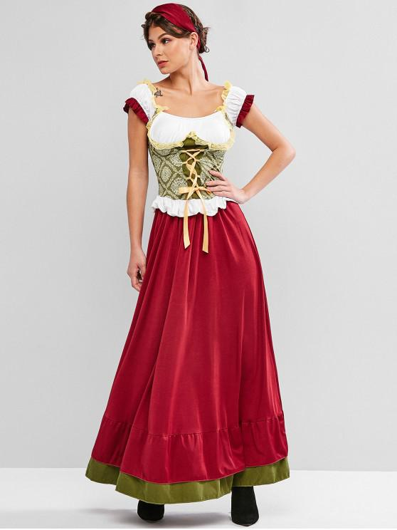 best Lace-up Colorblock Lace Insert Maxi Oktoberfest Skirt Set - MULTI-A S