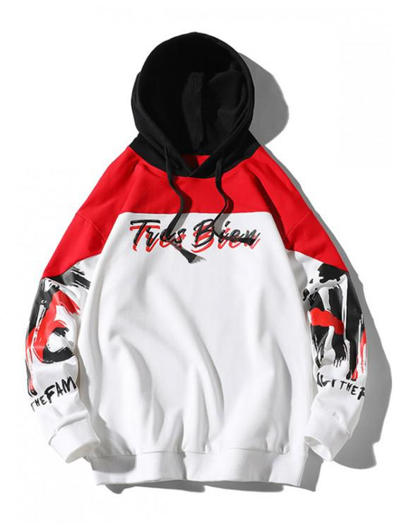 buy Letter Painting Print Contrast Color Spliced Hoodie - WHITE M