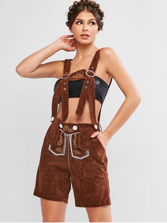 Вышитые карманные шорты для подтяжек - Коричневый L
