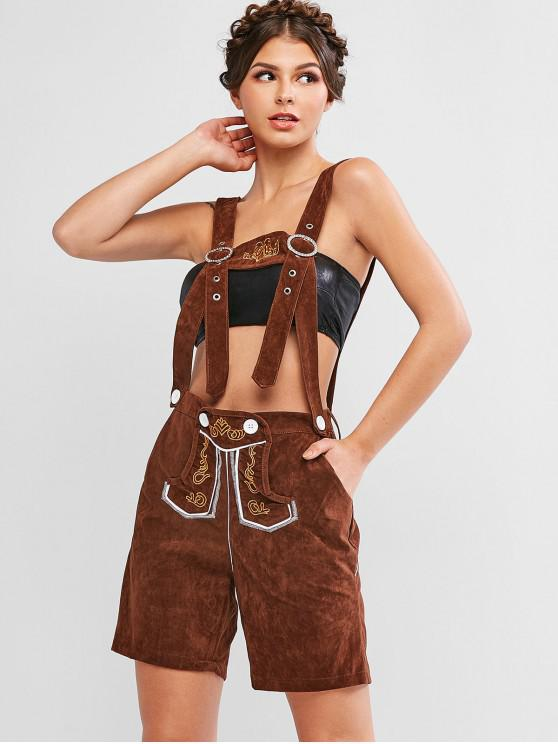 womens Embroidered Pocket Suspender Shorts - BROWN M
