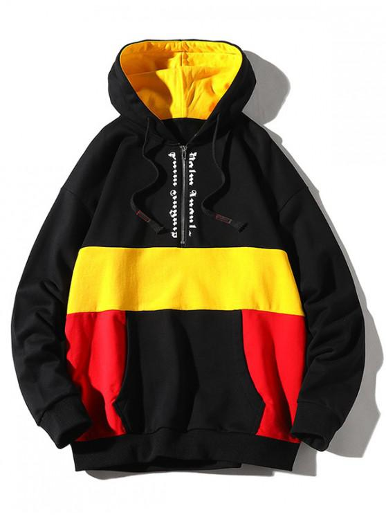 buy Colorblocking Splicing Letter Half Zipper Hoodie - BLACK L