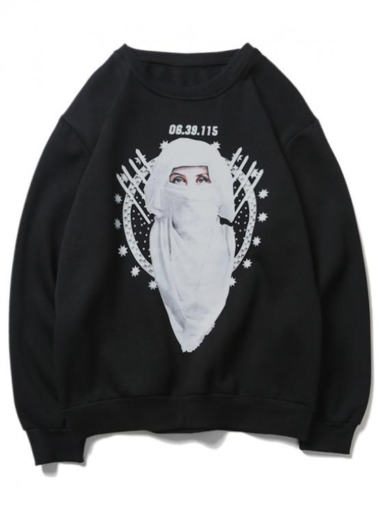 latest Star Graphic Women Character Print Fleece Sweatshirt - BLACK L