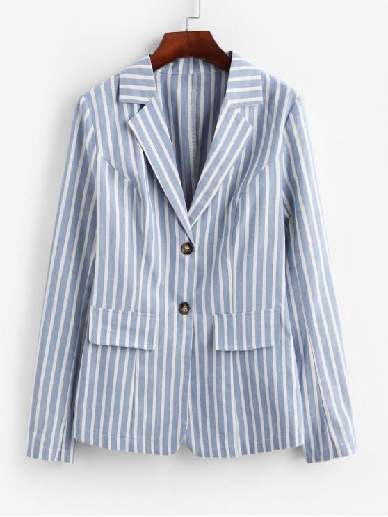 trendy ZAFUL Striped Two Button Work Lapel Blazer - SEA BLUE M