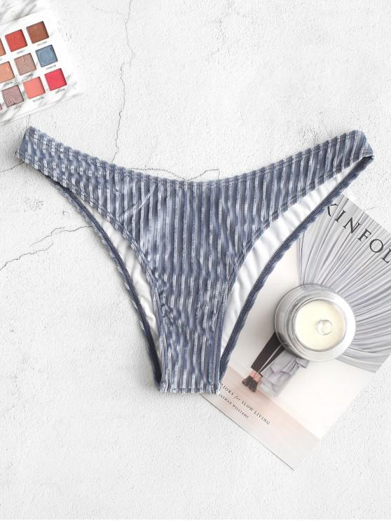 Braguita de bikini de pierna alta de terciopelo ZAFUL - Gris Azulado L