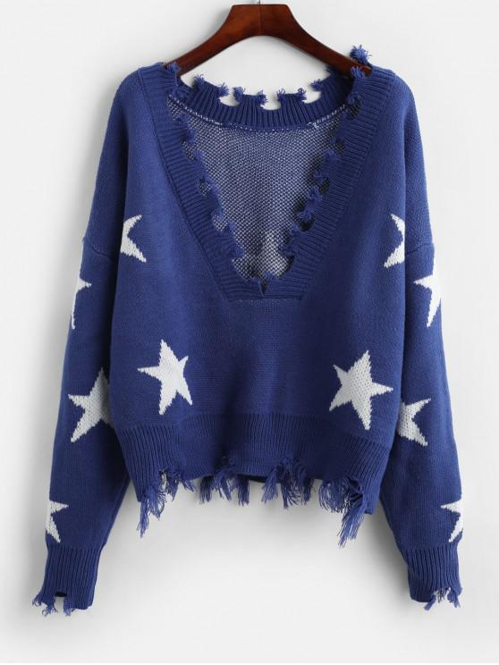 fashion ZAFUL Cropped Frayed Stars Sweater - BLUE ONE SIZE