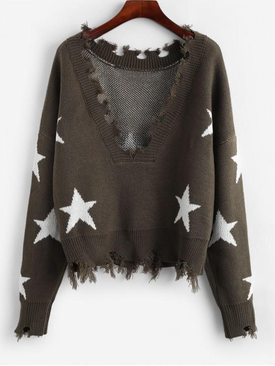 Suéter de estrellas raído recortado ZAFUL - Ejercito Verde Talla única