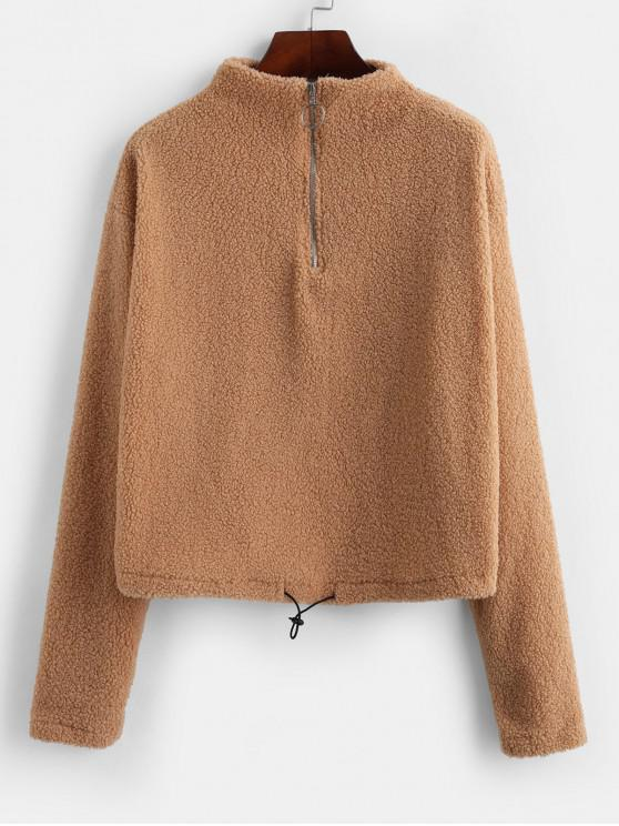 Felpa mezza zip Fuzzy - Marrone Cammello L