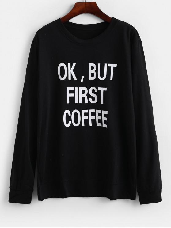 women Letter Slogan Graphic Basic Pullover Sweatshirt - BLACK M