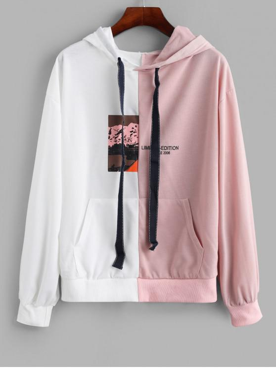 best Two Tone Graphic Kangaroo Pocket Drop Shoulder Hoodie - WHITE S
