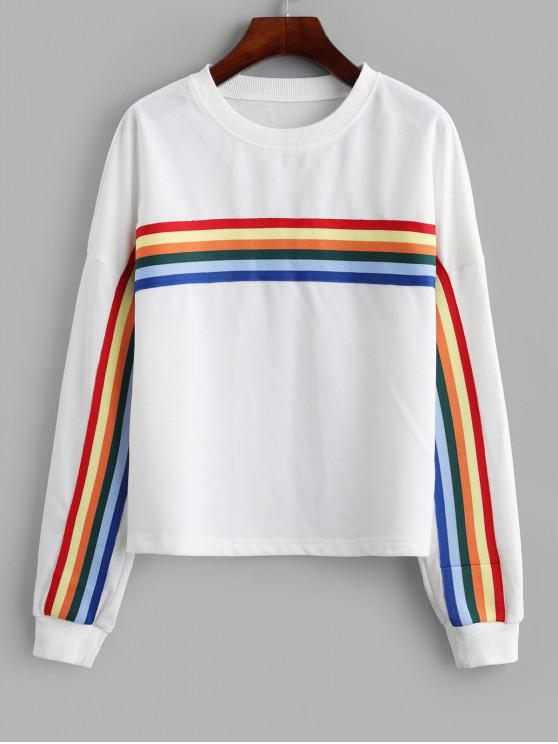 ladies Rainbow Stripe Drop Shoulder Pullover Sweatshirt - WHITE S