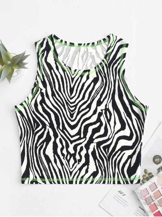 outfit Neon Stitching Cropped Zebra Print Tank Top - MULTI-A M