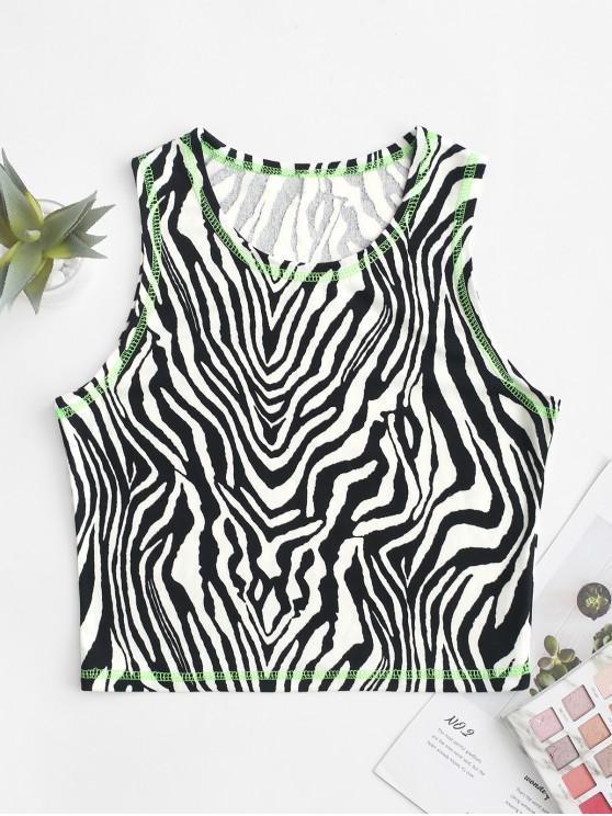 Top sin mangas con estampado de cebra y costuras de neón - Multicolor-A L