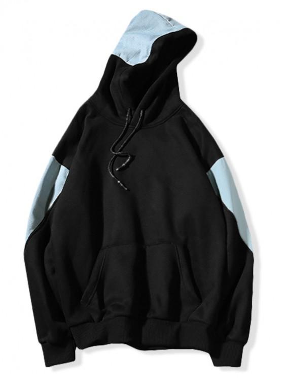Colorblock Patchwork Splicing Kangaroo Pocket Sudadera con capucha - Negro XL