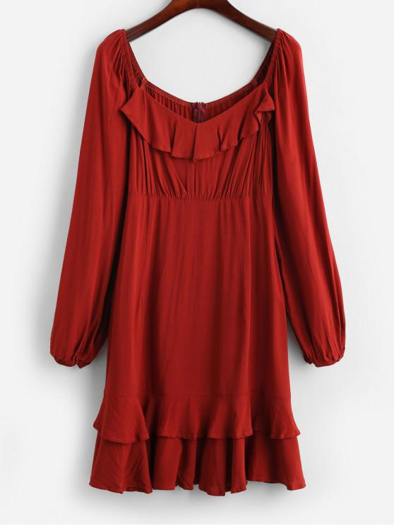 online ZAFUL Layered Ruffles Long Sleeve Mini Dress - FIREBRICK XL