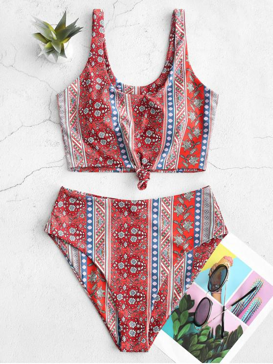 fashion ZAFUL Bohemian Printed Knot Tankini Swimsuit - VALENTINE RED S