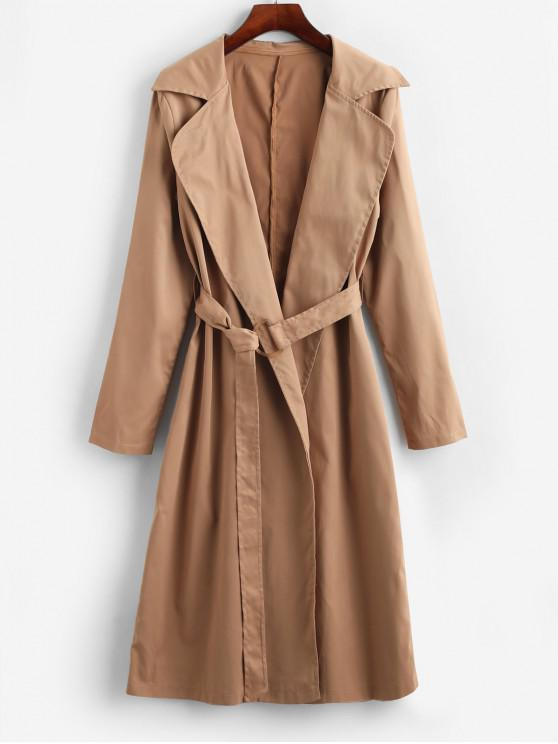 best Belted Longline Trench Coat - BURLYWOOD XL