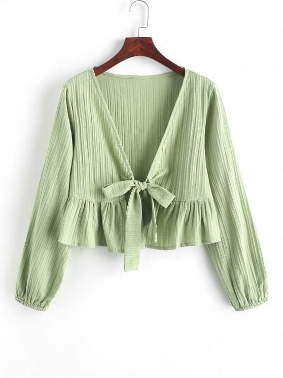 С оборкой С бантом V-воротник Короткая Блузка - Зеленый L