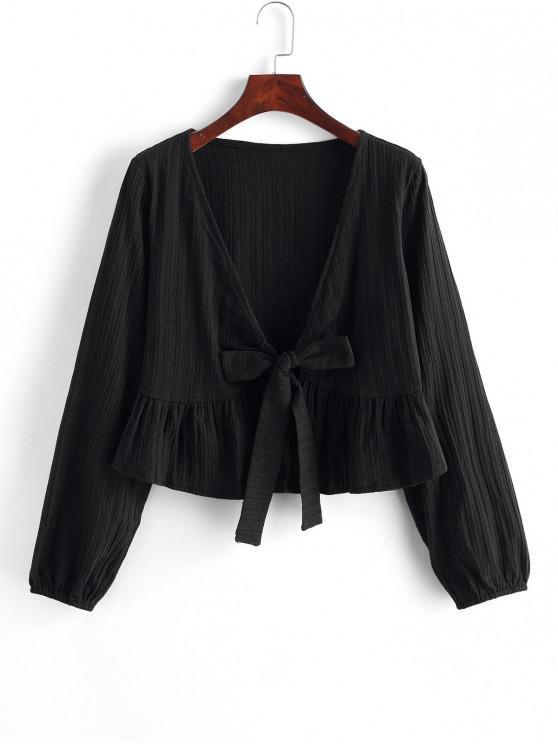 Blusa corta con cuello en V anudado en el bajo con volantes - Negro M