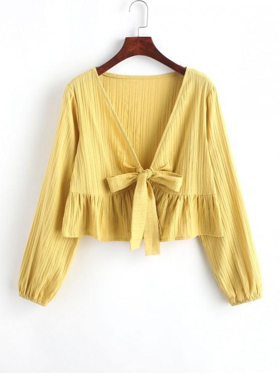 fashion Ruffle Hem Knotted V Neck Crop Blouse - GOLDENROD M