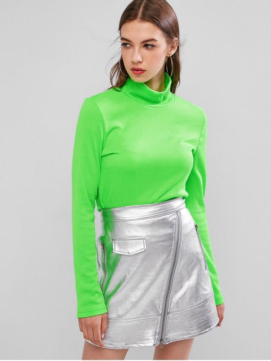 shop Neon High Neck Ribbed Slim Knitwear - JADE GREEN S