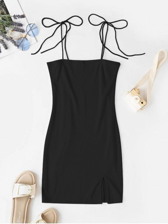 affordable Tie Shoulder Ribbed Slit Cami Dress - BLACK L
