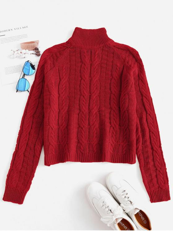 outfit Cable Knit High Neck Sweater - RED ONE SIZE