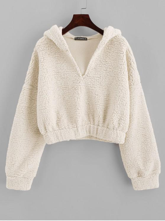 outfits ZAFUL Drop Shoulder Faux Shearing Teddy Hoodie - WHITE L