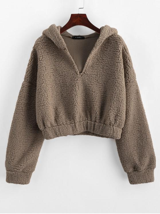 buy ZAFUL Drop Shoulder Faux Shearing Teddy Hoodie - DARK KHAKI M