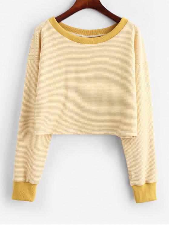 ZAFUL Sweat-shirt Court Contrasté Rayé à Goutte Epaule - Jaune d'Abeille M