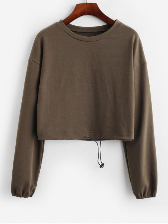 women ZAFUL Drop Shoulder Pullover Cropped Sweatshirt - ARMY GREEN L