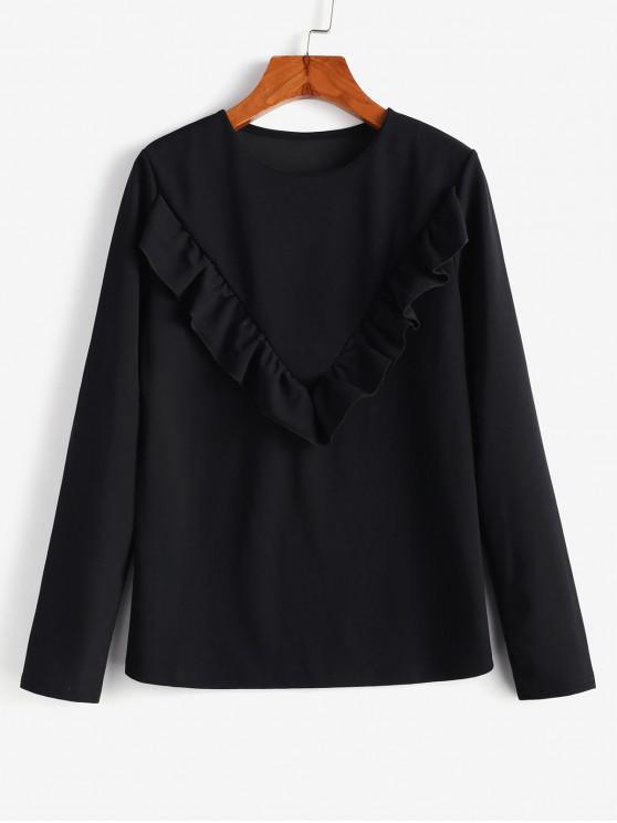 buy Flounce Long Sleeves Blouse - BLACK L