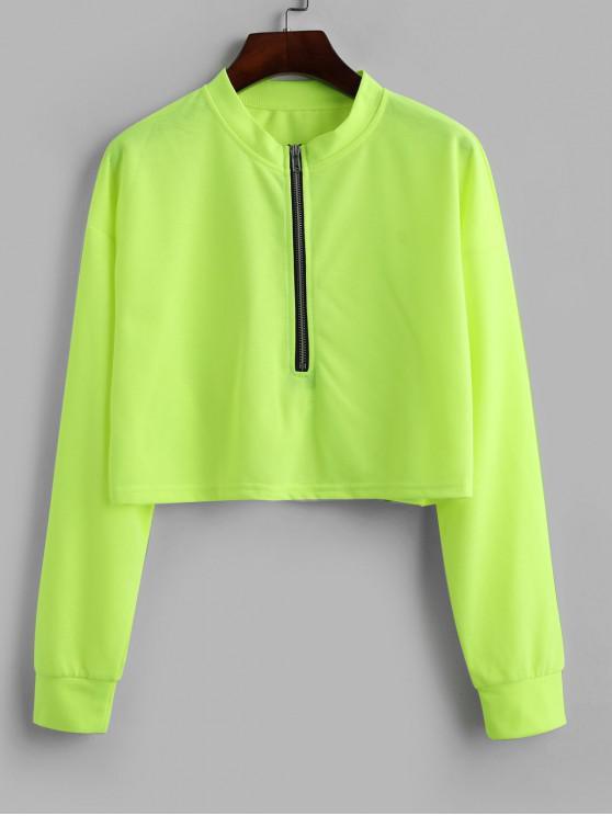 Media cremallera con capucha de neón recortada - Verde Amarillo L