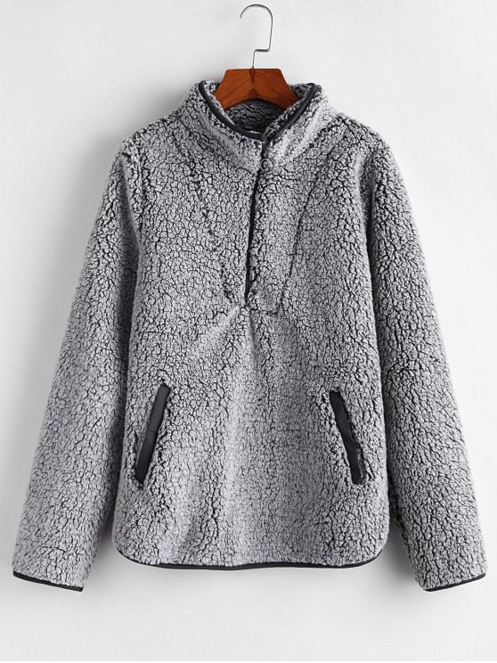 chic Half Zip Fuzzy Pocket Sweatshirt - GRAY M