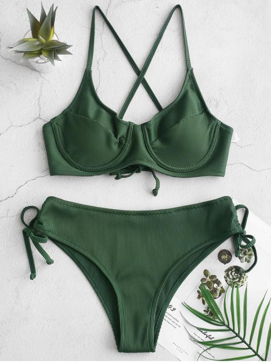 affordable ZAFUL Ribbed Cinched Lace-up Underwire Bikini Swimsuit - MEDIUM FOREST GREEN M