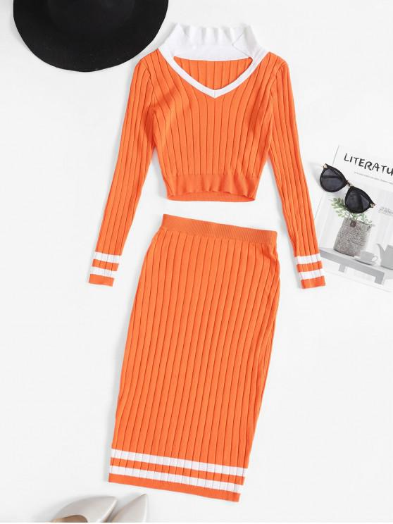 lady Cricket Sweater Two Piece Set - DARK ORANGE L