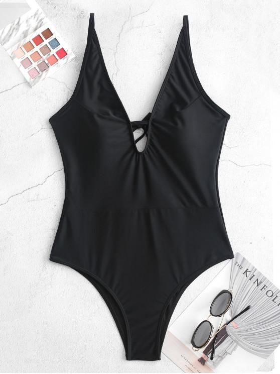 chic ZAFUL Plunge Tie Low Back One-piece Swimsuit - BLACK XL