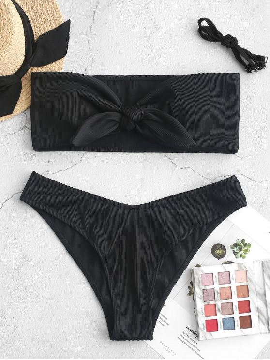 women ZAFUL Textured Ribbed Knot Bandeau Bikini Swimsuit - BLACK S