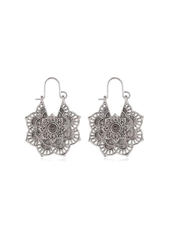 fancy Vintage Alloy Engraved Floral Earrings - SILVER
