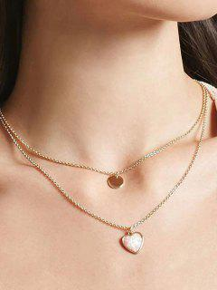 2Pcs Round Heart Pendant Necklace Set - Gold