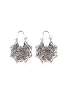 Vintage Alloy Engraved Floral Earrings - Silver