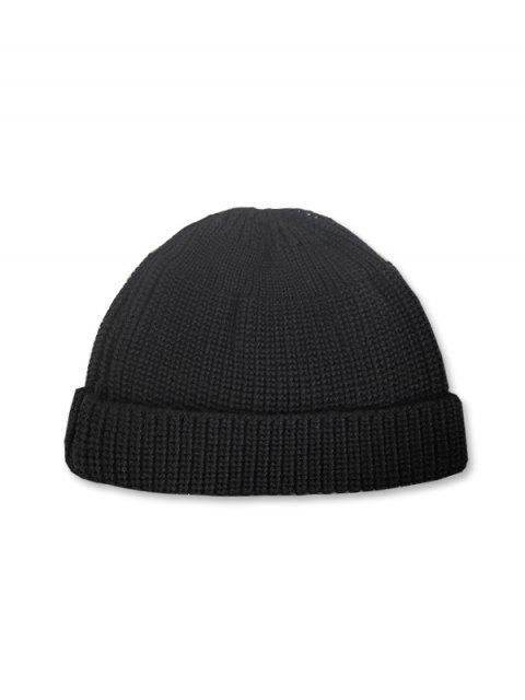 shops Casual Round Top Knitted Weaving Winter Soft Hat - BLACK  Mobile